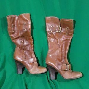 Arturo Chiang sz 9 brown heeled zipper boots